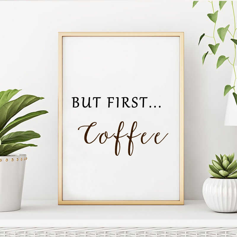 But First Coffee Art Poster Coffee Guide Prints Kitchen Canvas Paintings Black White POP Wall Art Posters Pictures Home Decor