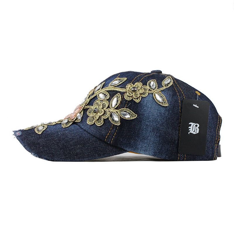 [FLB] Summer Baseball Cap For Women Flower Rhinestone Denim Baseball Cap Gorras Fall Hat For Womens Jean Caps Wholesale F244 4