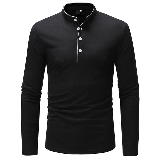 2018 New Brand Men Polo Shirt Solid Color Long-Sleeve Slim Fit Shirt Men Cotton Polo Shirts Casual Shirts XXXL T969 3