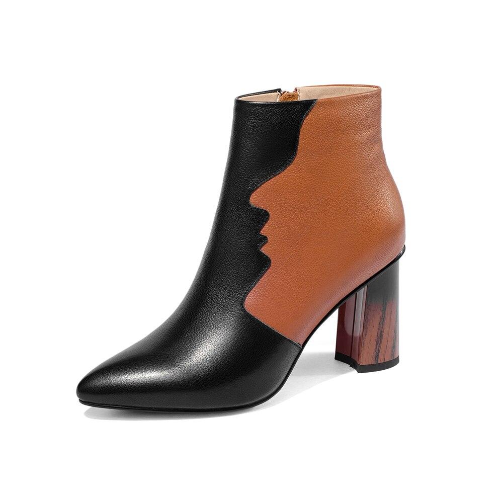 De Cuero Tacón Dedo Mujeres Alto Zapatos Mujer Botas Del Genuino Orange Mezclados white Pie Leepo Colores Puntiagudo Tobillo Las Invierno Damas Fqxwt6qEA
