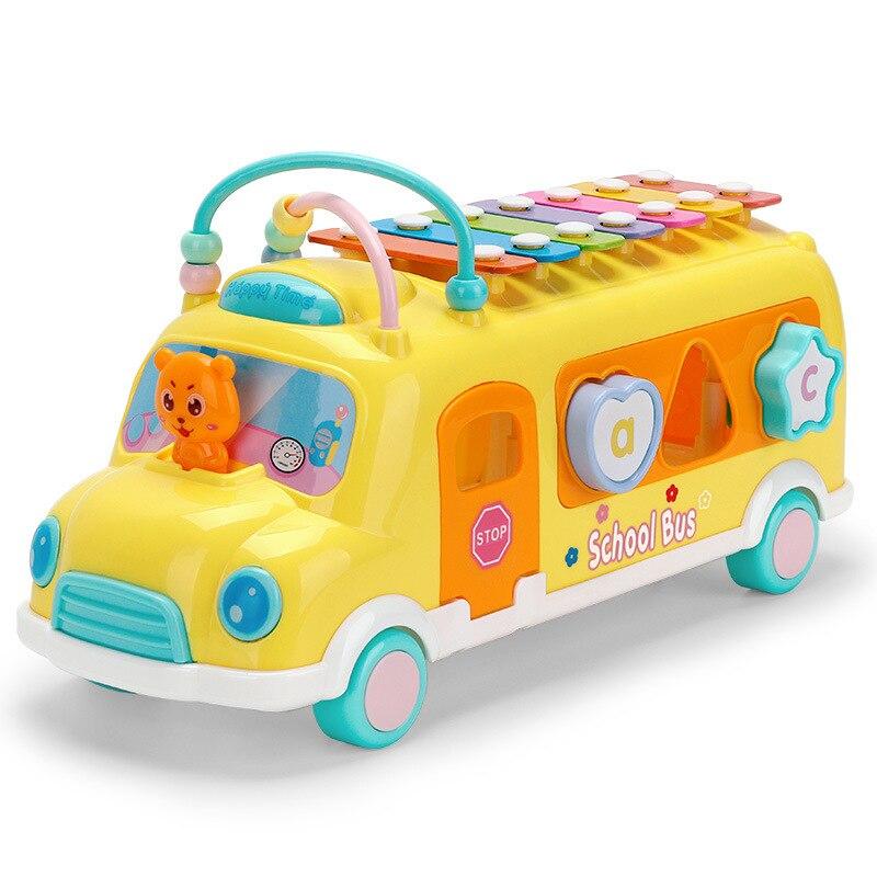 Caxx детский автобус стук фортепиано детские головоломки Beat Музыкальный барабан фортепиано стук инструменты игрушечный автобус Детские Ранние развивающие игрушки - Цвет: yellow