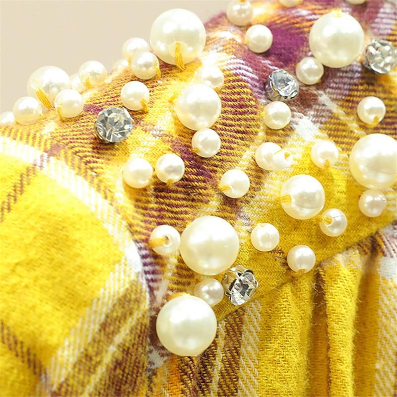 Tops Suelto Mumuzi Femenina Cordón Y Las Calidad Amarillo Delgada Abrigos Cuadros Mujeres De Púrpura Retro Volantes Moda Blusa Mejor qp0qOxAw