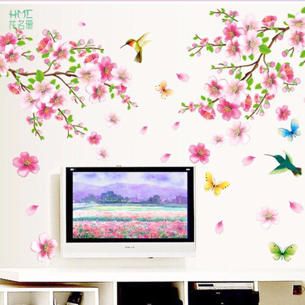 Elegant Flower Wall Stickers Graceful Peach Blossom birds Wall Stickers Furnishings Romantic Living Room Decoration