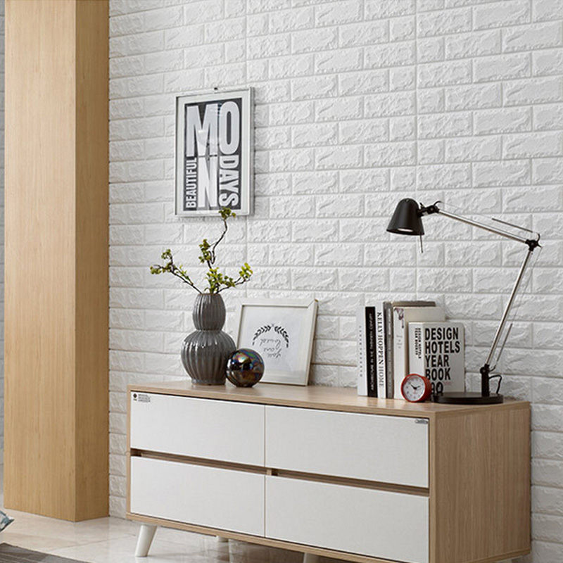 1PC White Embossed 3D Brick Wall Sticker Panel Soft Thicken Foam DIY Texture Wallpaper Living Room Wallcovering 6060CM In Wallpapers From Home