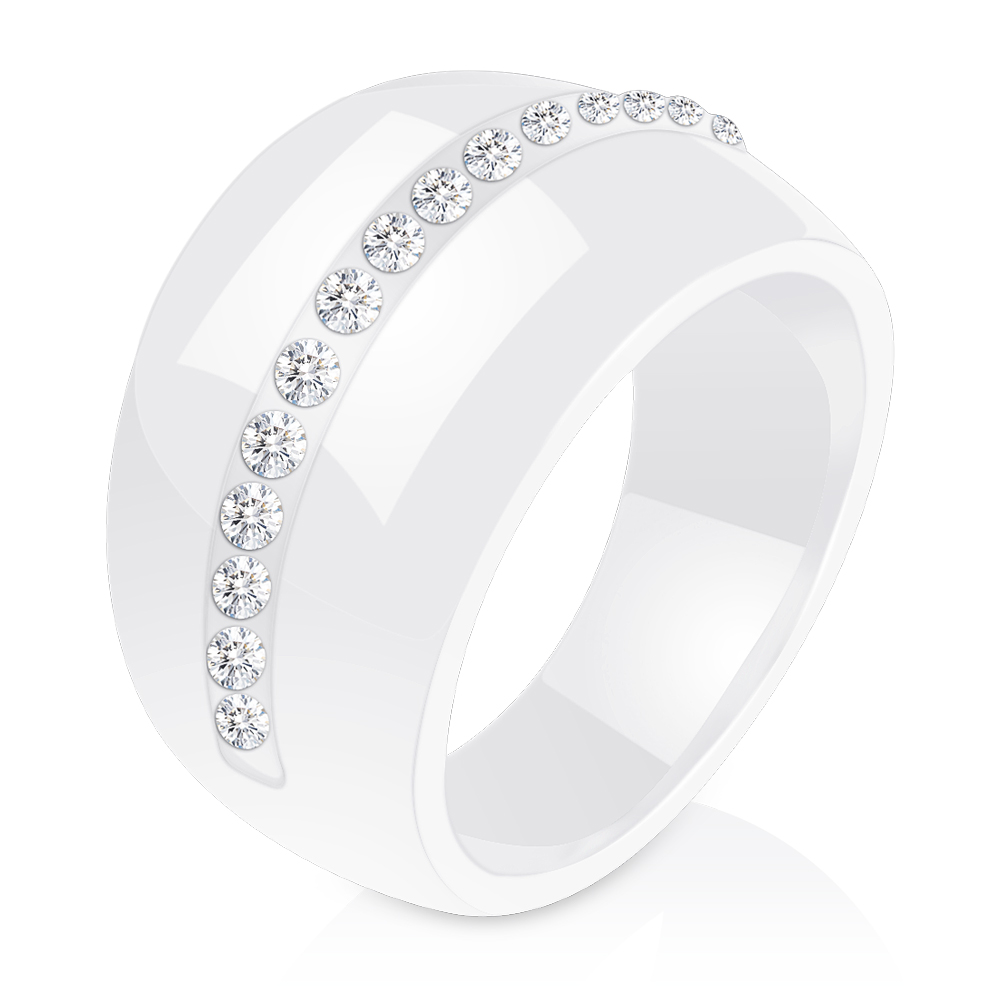 Luxury Romantic Clear Black And White Ceramic Ring Jewelry For Women Accessories Fashion Jewelry Ring With Bling Crystal 4