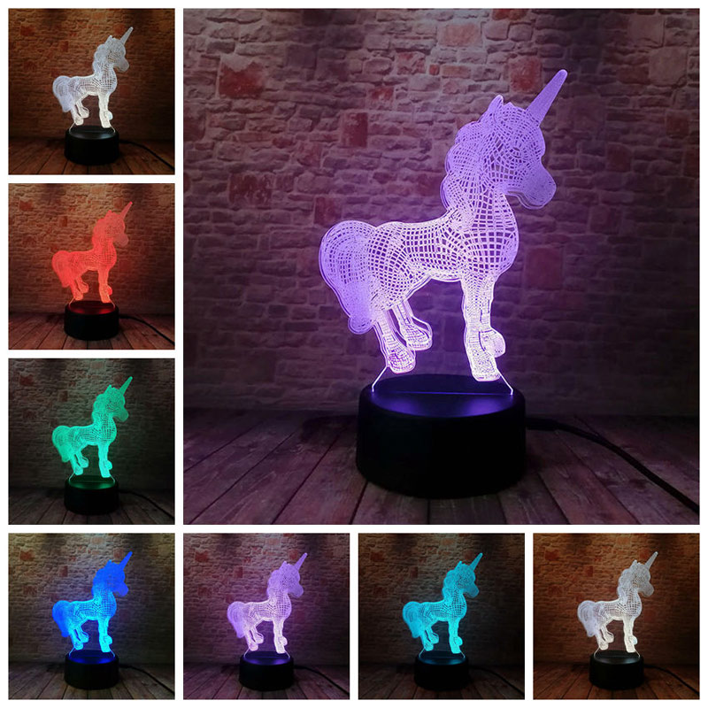 Whistling Wolf Animal Figure Flash Model 3d Illusion Led Nightlight Luminous Colorful Changing Light Desk Lamp Model Toys Toys & Hobbies