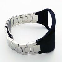 Adjustable Metallic Wristband Fitness Bracelet Strap For SAMSUNG GALAXY Gear S R750 Silver Metal Black Silicon