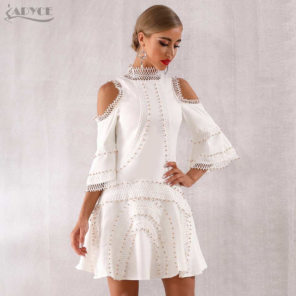 Adyce 2019 New Summer Arrival Women Lace Club Dress Vestidos Sexy Lace Flare Wrist Sleeve Celebrity