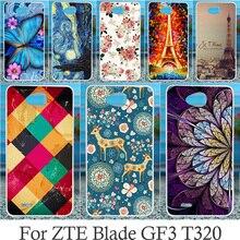 Akabeila Чехол для мобильного телефона ZTE лезвие GF3 T320 4.5 дюймов телефон сумка Обложка В виде ракушки Эйфелева башня шаблон Капа