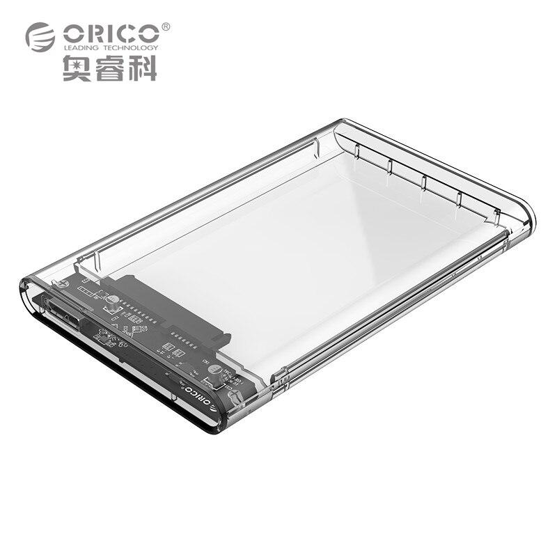 ORICO 2139U3 2,5 zoll Transparent USB3.0 Sata 3,0 HDD Fall Tool Free 5 Gbps Unterstützung 2 TB UASP Protokoll Festplattengehäuse