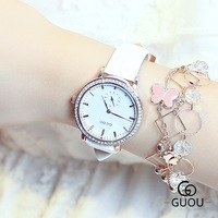 High Quality GUOU Brand Crystal Genuine Leather Japanese Core Analog Quartz Wrist Watch Wristwatches Bracelet For