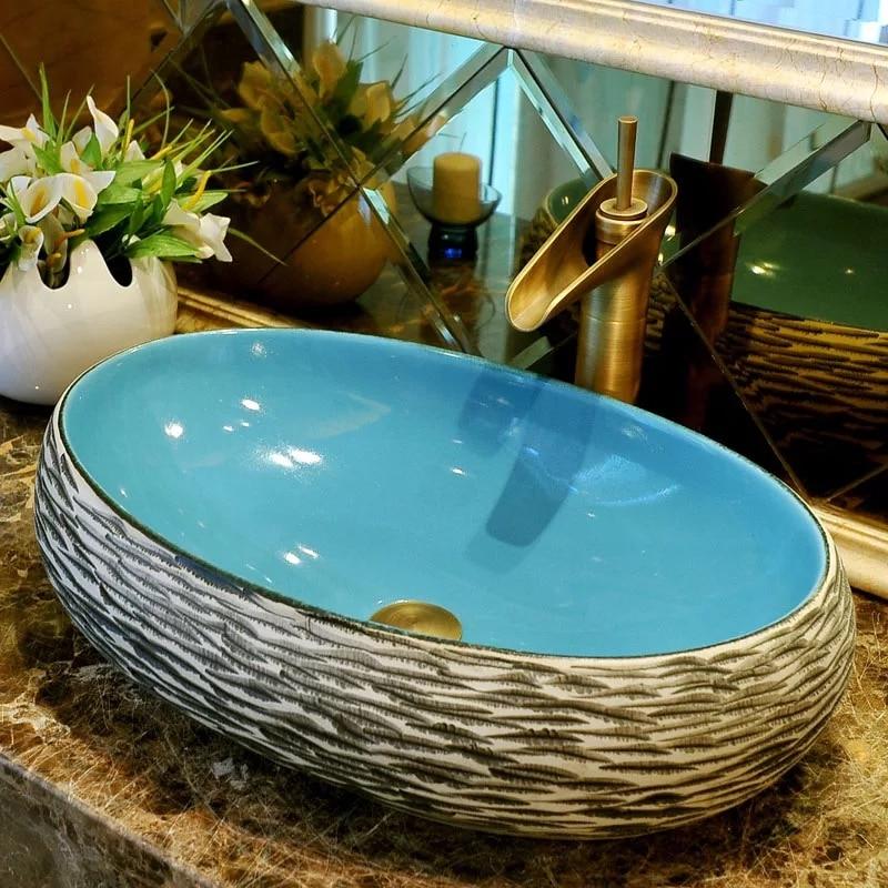 Oval shape jingdezhen handmade ceramic counter basin balcony art basin bathroom wash basin bar ktv personalized silver wash basin wash upscale bathroom ceramic basin washbowl villa clubhouse silver pedestal basin