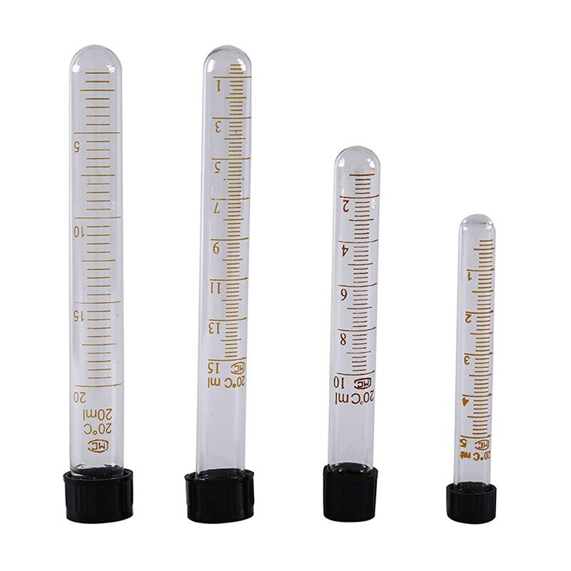 1pc 5ml/10ml/15ml/20ml Graduated Glass Test Tubes With Black Screw Cap Lab Supplies