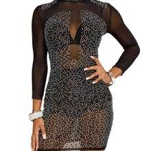 Sexy Women Mesh Sheer Dress Rhinestones Long Sleeve Female Dress High Neck  Night Club Party Dresses 829b05d2a1ff