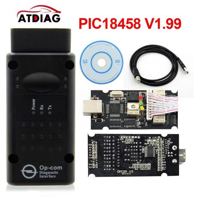 2019 Opcom V1.78 V1.99 עם PIC18F458 שבב FTDI OBD2 רכב קוד reader רכב אבחון כלי עבור o-pel OP COM יכול אוטובוס ממשק