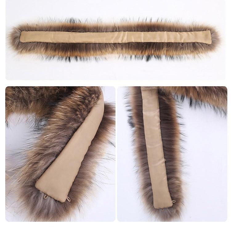 natural raccoon fur hoody trim collar (9)