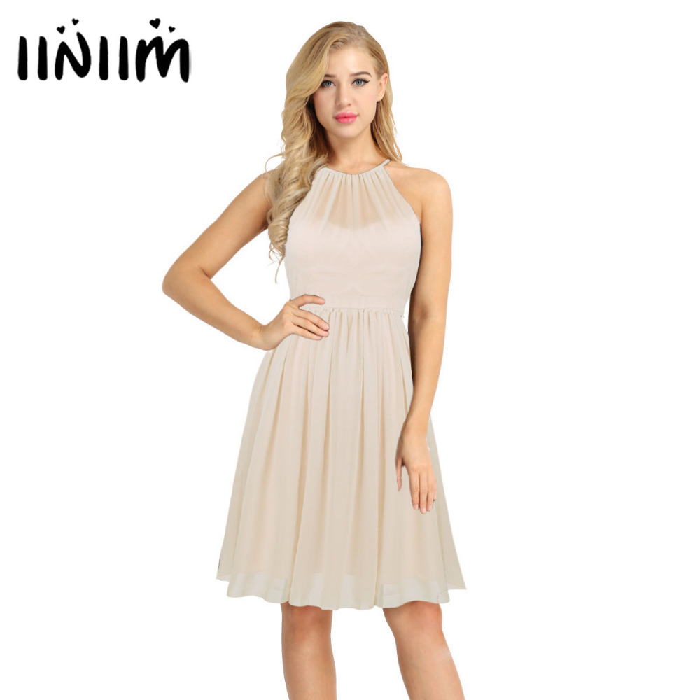 d0c8044528e97 Womens Office Ladies Business Dresses Adult Vintage Sleeveless Spaghetti  Halter Chiffon Evening Party Swing Dress for Weeding