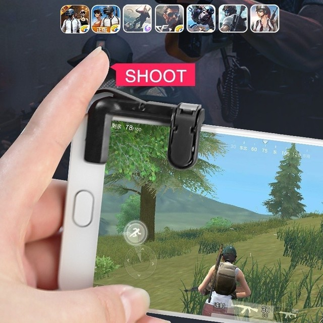 1 Pair PUBG Mobile Game Fire Button Aim Key Smart phone Gaming Trigger L1 R1 Shooter Controller Transparent V4.0 3