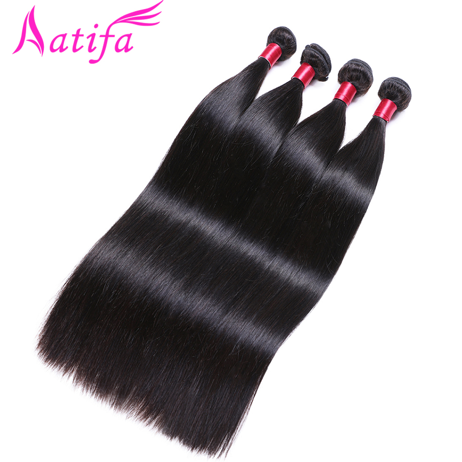 Brazilian Straight Hair Bundles 1/3/4 Stk. Human Hair Weave Bundler Aatifa Remy Hair Extension Natural Color 10-28 inch
