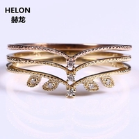 Vintage Solid 10k Yellow Gold Rose Gold Certified Natural Diamonds Ring Women Engagement Wedding Band Thin Elegant Ring