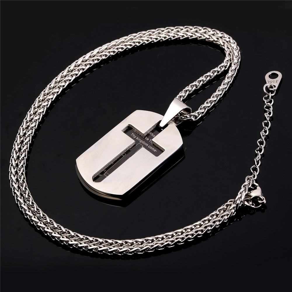 Collare Bible Lords Prayer Cross Pendants 316L Stainless Steel Dog