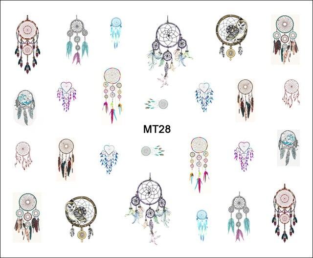 1 Hoja de Uñas Fashion Dream Catcher MT28 POP Nail Art Water Consejos Tatuaje de transferencia de la Etiqueta engomada Para El Arte Del Clavo Herramienta Del Clavo de DIY