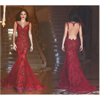 Shiny Mermaid Evening Dresses Burgundy Sexy See Through Back Womens Sheer Neck Prom Pageant Gown Trumpet robe de soiree longue