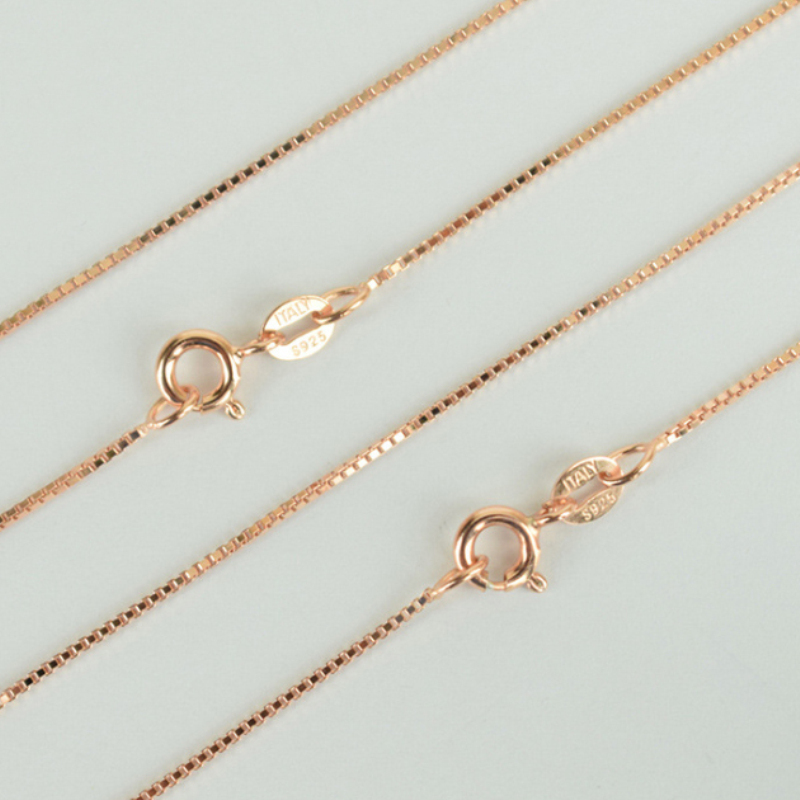 Real 925 Sterling Silver & Rose Gold Color Slim Thin Box Chain Necklace for Pendants Charms for Women Men Children Girls Boys