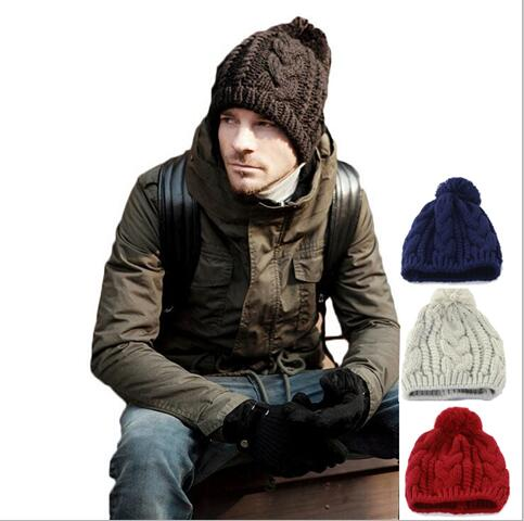 Fashion 2015 New Winter Men and Woman wool cap Beanies Knitted Hat Ear Protector Velvet Cap Warm Skullies Free Shipping skullies 2017 fashion new arrival indian yoga turban hat ear cap sleeve head cap hat men and women multicolor fold 1866688