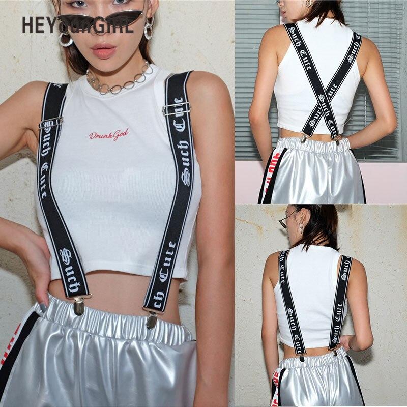 HEYounGIRL Harajuku Printed Suspenders Women Mens Unisex Trouser Straps Adjustable Braces Clip-on Pants Suspenders Belt Punk