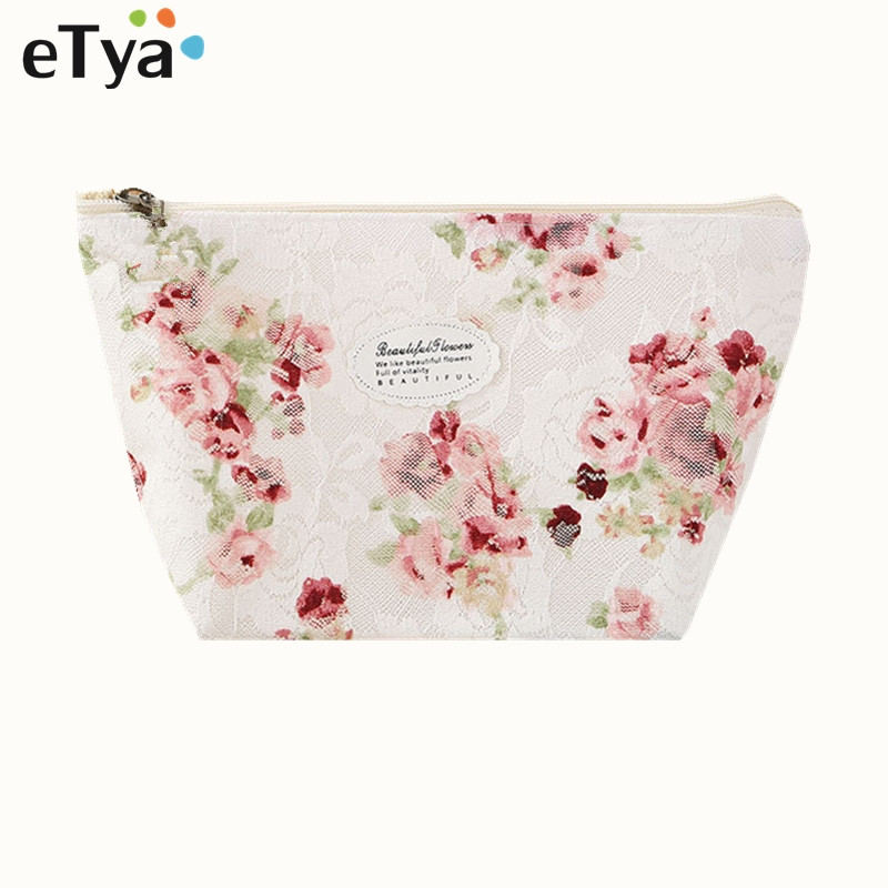 ETya Fresh Fashion Women Cosmetic Bag Travel Lace Flower Makeup Bag Zipper Case Ladies Organizer Toiletry Bag Kits Wash Pouch