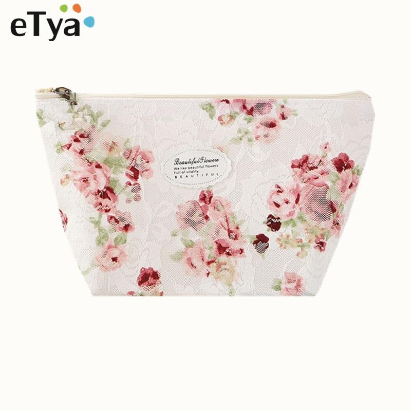 ETya Fresh Fashion Women Cosmetic Bag Travel Lace Flower Makeup Bag Zipper Case Ladies Organizer Toiletry Bag Kits Wash Pouch