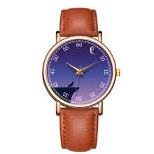 Classic Fashion Mysterious Wolf Quartz Quartz Wrist Watch Leather Men W
