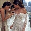 Vestido De Noiva Lace Mermaid Wedding Dress 2017 Sweetheart Neck Cap Sleeve Split Beading Court Train Sexy Bridal Dresses