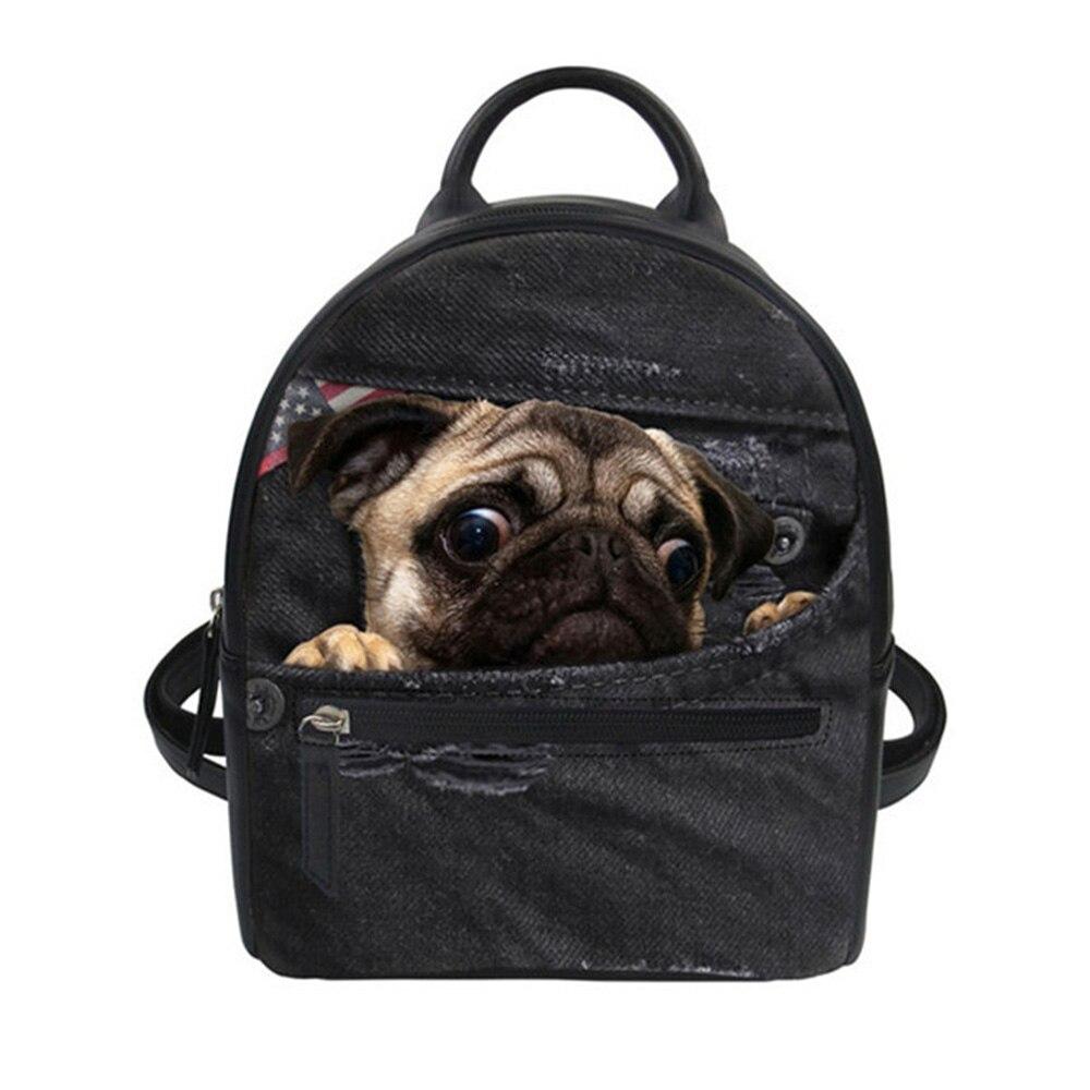 Small Women Backpack Zipper PU Leather Bag for Teenager Girls Schoolbag Bagpack Denim Pug Cat Dag Printing Backpack New