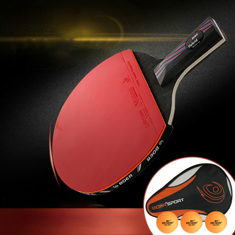 Professional  Racket Blade Carbon Fiber Table Tennis Rubber With Double Face Pimples-in Ping Pong Rackets With Bag 3 Balls