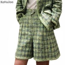 Vinatge 秋冬ツイードショーツ女性ファッションストレート ニットエレガントなウールショーツの女性の服 KoHuiJoo