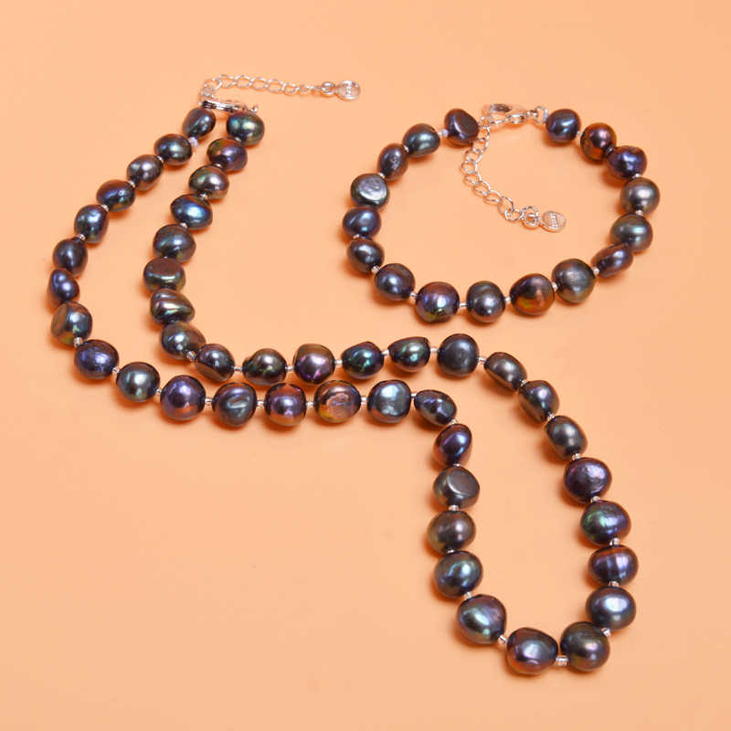 ASHIQI Real Natural Baroque Pearl Jewelry Sets Gary Black Necklace Bracelet For Women New Arrival