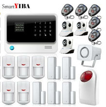 SmartYIBA Wireless Phone App GSM Alarm System Remote Control Red Strobe Siren Home House Security SMS Door/Window Sensors Alarm