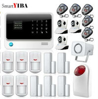 SmartYIBA Wireless Phone App GSM Alarm System Remote Control Red Strobe Siren Home House Security SMS Door/Window Sensors Alarm