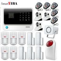 SmartYIBA Wireless Phone App Sistema di Allarme di GSM di Controllo Remoto Rosso Strobo Sirena Home Security Casa SMS Porta/Finestra Sensori allarme