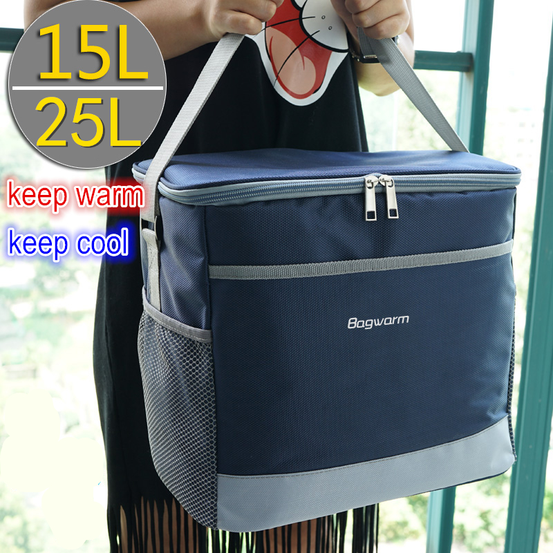 Сумка-кулер 15л/25л, водонепроницаемые Наплечные сумки для пикника, для еды, напитков, фруктов, теплоизолирующая сумка, ледяной пакет, термостат, холодильник