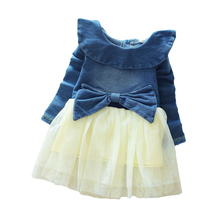 2019 Autumn Winter Girl Dress Long Sleeve Pure color Girls Dresses Bow Princess Teenage Casual Dress 8 Years Children Clothes