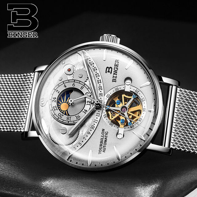 Switzerland Watch Men BINGER Automatic Mechanical Men Watches Luxury Brand Sapphire Relogio Masculino Waterproof Men Watch B-1-6