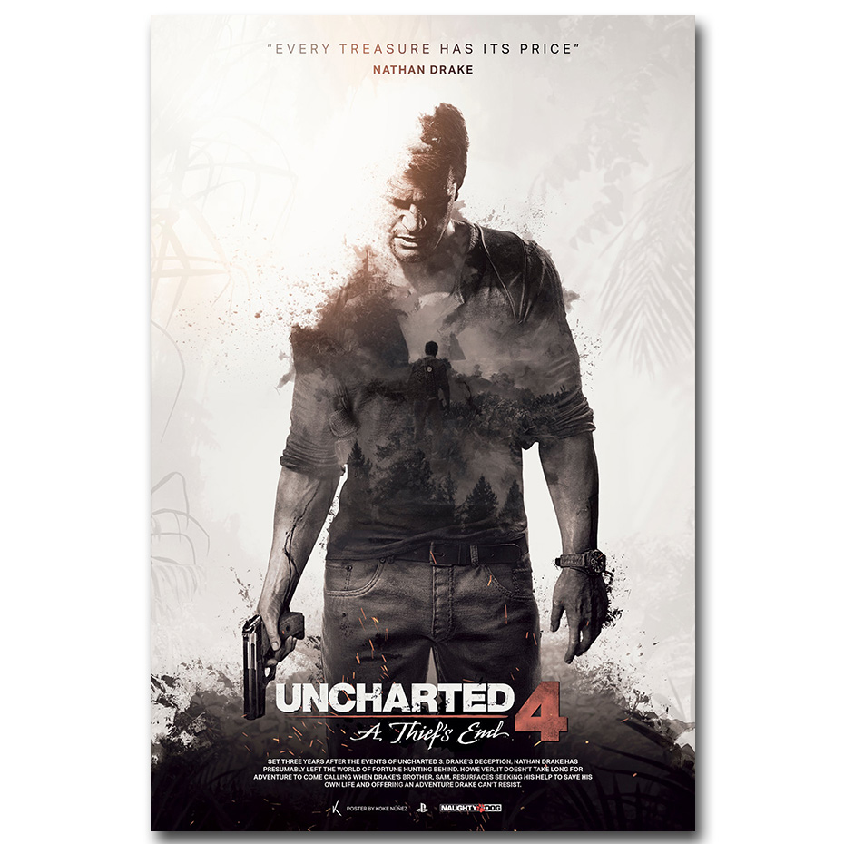 Uncharted 4 a thiefs end game art silk poster print 12x18 for Living room 12x18