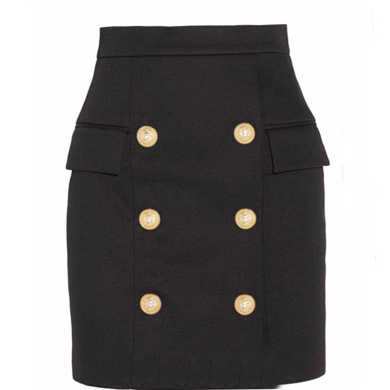 203e8a6619 2018 Luxury Brand Autumn Woman Mini Skirts High Waist Gold Metal Button  Double Breasted Short Skirts Resort Holiday Black Skirt