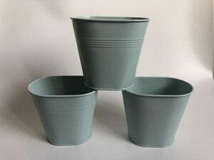 Image 3 - 10Pcs/lot Metal Tub Small Oval Vase Wedding Decorative Pots Sky Blue Wedding Centerpieces iron flower pots SF 0516