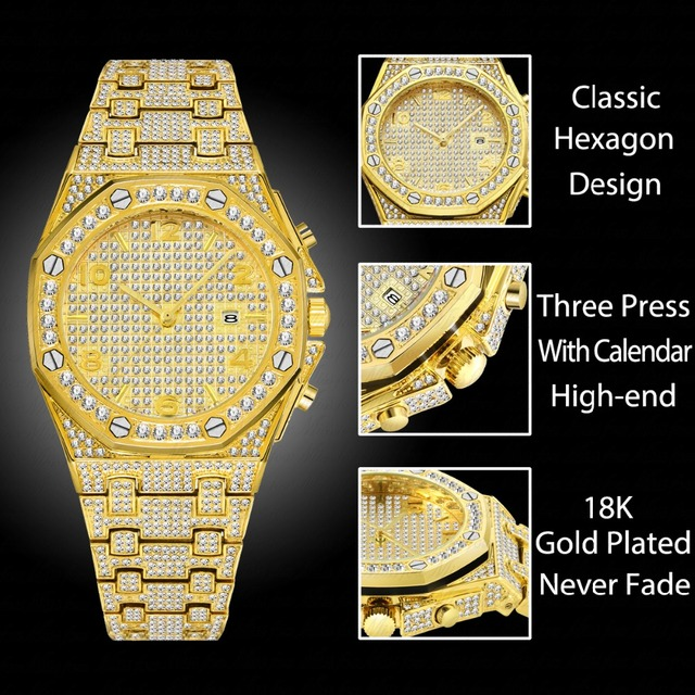 Relógios masculinos marca de topo relógio de luxo masculino tendência único ff árabe diamante relógio 18k ouro quartzo gelo para fora relógio cronógrafo 1