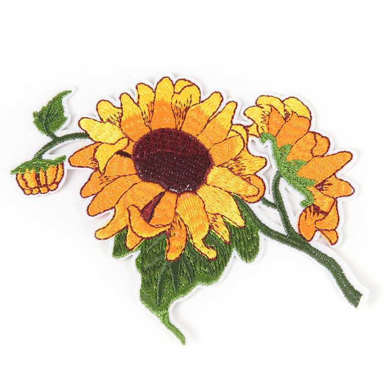 Clothing Garment Apparel Accessories Sun Flower Sunflower Iron On Patch Full Embroidered Clothes Patch
