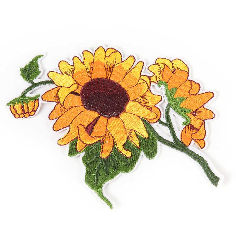 Ferro No Remendo Acessórios de vestuário Vestuário Vestuário Flor do Sol Girassol Completo Bordado Roupas Patch